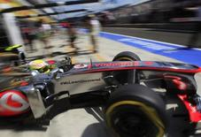 McLaren Formula One driver Sergio Perez of Mexico drives during the second practice session of the Hungarian F1 Grand Prix at the Hungaroring circuit in Mogyorod, near Budapest July 26, 2013. REUTERS/Bernadett Szabo