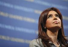 Argentina's President Cristina Fernandez speaks at the 2009 World Leaders Forum at Columbia University in New York September 21, 2009. REUTERS/Eric Thayer