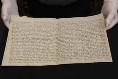 A hand written letter detailing the Glenrowan Siege is shown in this undated handout picture released to Reuters October 9, 2013. REUTERS/State Library of Victoria/Handout via Reuters
