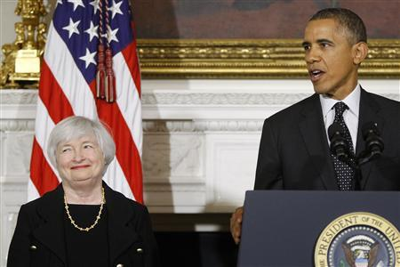 U.S. President Barack Obama (R) announces his nomination of Janet Yellen (L) to head the Federal Reserve at the White House in Washington October 9, 2013. REUTERS/Jonathan Ernst