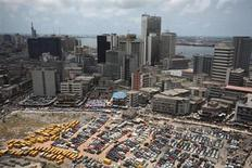 An aerial view shows the central business district in Nigeria's commercial capital of Lagos in this April 7, 2009 file photo. REUTERS/Akintunde Akinleye