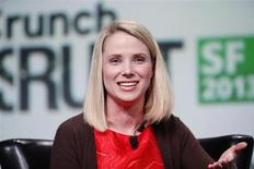 Marissa Mayer, President and CEO of Yahoo!, speaks on stage during a fireside chat session at TechCrunch Disrupt SF 2013 in San Francisco, California September 11, 2013. REUTERS/Stephen Lam