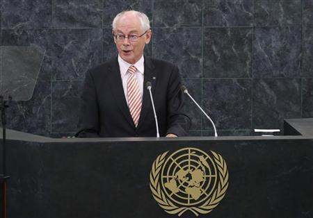 Herman Van Rompuy, President of the European Council, addresses the 68th United Nations General Assembly at U.N. headquarters in New York, September 25, 2013. REUTERS/Mike Segar