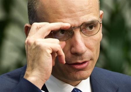 Italian Prime Minister Enrico Letta speaks at the Brookings Institute in Washington October 17, 2013. REUTERS/Joshua Roberts