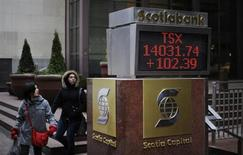 People walk past an electronic board displaying the midday TSX index in Toronto in this February 16, 2011 file photo. REUTERS/Mark Blinch/Files