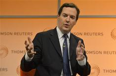 Britain's Chancellor of the Exchequer George Osborne speaks at a Thomson Reuters Newsmaker event at Canary Wharf in London October 22, 2013. REUTERS/Toby Melville