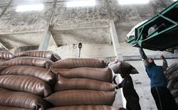 Unos obreros transportan sacos con caña de azúcar en la planta Paraíso de Campos dos Goytacazes, Brasil, nov 10 2010. Los ingenios de azúcar en importantes productores como Brasil enfrentan problemas financieros actualmente debido a que los precios están por debajo de los costos de producción, dijo el martes el intermediario de materias primas Czarnikow. REUTERS/Sergio Moraes