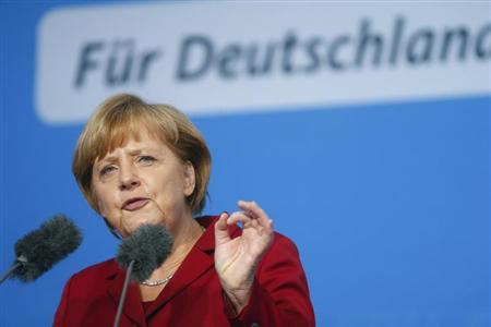 German Chancellor and conservative Christian Democratic Union (CDU) leader Angela Merkel speaks during an election campaign rally in Fulda September 19, 2013. REUTERS/Ralph Orlowski
