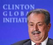 """Andrew Liveris, Chairman and CEO of the Dow Chemical Company, participates in a group discussion on """"Business by Design: Business with Integrity"""" during the second day of the Clinton Global Initiative 2012 (CGI) in New York on September 24, 2012. REUTERS/Lucas Jackson"""