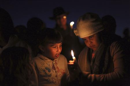 Mariana Rodriguez (L) and Laura Escutia light a candle for Andy Lopez Cruz at the site of his death in Santa Rosa, California October 24, 2013. REUTERS/Robert Galbraith