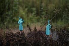 Резиновые перчатки у дома в эвакуированном городе Намиэ в японской префектуре Фукусима 13 сентября 2013 года. Тецуя Хаяси отправился в Фукусиму, чтобы работать на месте самой крупной ядерной катастрофы со времен Чернобыля. Его хватило менее чем на две недели. REUTERS/Damir Sagolj