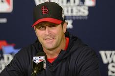 St. Louis Cardinals manager Mike Matheny (22) talks with the media during a press conference a day before game three of the World Series against the Boston Red Sox at Busch Stadium. Mandatory Credit: Jeff Curry-USA TODAY Sports