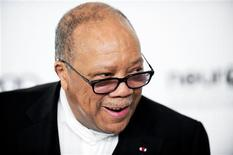Music producer Quincy Jones arrives at the 20th annual Elton John AIDS Foundation Academy Awards Viewing Party in West Hollywood, California, in this file picture taken February 26, 2012. REUTERS/Gus Ruelas