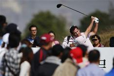 Gonzalo Fernandez-Castano of Spain tees off on the 7th hole during the BMW Masters 2013 golf tournament at Lake Malaren Golf Club in Shanghai October 27, 2013. REUTERS/Aly Song