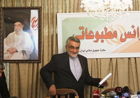 Alaeddin Boroujerdi, head of the Iranian parliamentary committee for national security and foreign policy, arrives for a news conference after meeting Syria's President Bashar al-Assad, at the Iranian embassy in Damascus September 1, 2013. REUTERS/Khaled al-Hariri