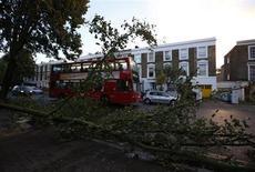 Автобус проезжает мимо поваленных ветром деревьев в лондонском районе Излингтон 28 октября 2013 года. Штормовые ветры и сильный дождь обрушились в понедельник утром на южную часть Англии и Уэльс, став причиной отмены авиарейсов, перебоев в железнодорожном сообщении и закрытия дорог и главных мостов перед началом рабочего дня. REUTERS/Olivia Harris