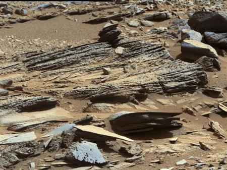 An image from the Mast Camera (Mastcam) on NASA's Mars rover Curiosity shows the surface of the planet with inclined layering known as cross-bedding in an outcrop called ''Shaler'' on a scale of a few tenths of a meter, or decimeters (1 decimeter is nearly 4 inches) in this NASA handout released January 15, 2013. REUTERS/NASA/JPL-Caltech/MSSS/Handout