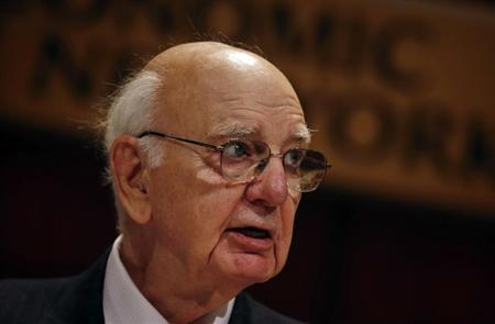 Former Chairman of the U.S. Federal Reserve Paul Volcker addresses the Economic Club of New York May 29, 2013. REUTERS/Mike Segar