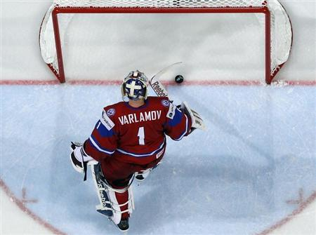 Russias Goalie Semyon Varlamov Reacts After Conceeding A Goal To Finland During Their 2013 IIHF Ice Hockey World Championship Preliminary Round Match At