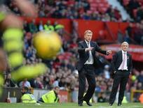 Manchester United's manager David Moyes gestures during their English Premier League soccer match against Stoke City at Old Trafford Stadium in Manchester, northern England, October 26, 2013. REUTERS/Nigel Roddis