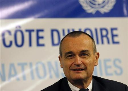 Gerard Araud, permanent representative of France to the United Nations, attends a meeting with U.N. Security Council members in Abidjan May 21, 2012. REUTERS/Thierry Gouegnon