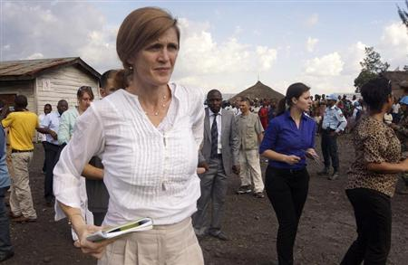 U.S. Ambassador to the United Nations (U.N.) Samantha Power visits the Mugunga III camp for internally displaced people in Goma, eastern Democratic Republic of Congo, October 6, 2013. REUTERS/Kenny Katombe