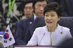 South Korea's President Park Geun-hye speaks at the ASEAN Plus Three Summit in Bandar Seri Begawan, October 10, 2013. REUTERS/Ahim Rani