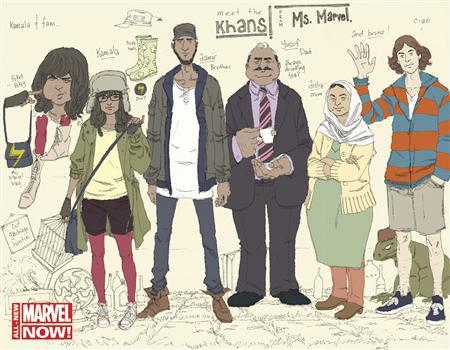 A new Marvel Comics cover shows Ms Marvel as Kamala Khan (2nd L), the 16-year-old daughter of Pakistani immigrants, in this undated handout provided by Marvel Comics. REUTERS/Adrian Alphona/Marvel Comics/Handout via Reuters