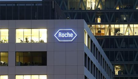 The logo of Swiss pharmaceutical company Roche is seen at a plant in the central Swiss village of Rotkreuz November 6, 2013. REUTERS/Arnd Wiegmann