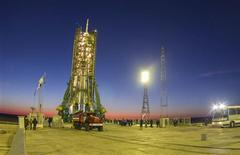 The Soyuz TMA-11M spacecraft, emblazoned with the Sochi 2014 logo and a blue-and-white snowflake pattern, rests on its launch pad before the blast-off with the International Space Station (ISS) crew of Japanese astronaut Koichi Wakata, Russian cosmonaut Mikhail Tyurin and NASA astronaut Rick Mastracchio, at the Baikonur cosmodrome November 7, 2013. REUTERS/Shamil Zhumatov