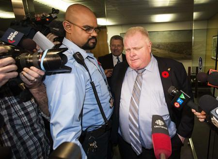 Toronto Mayor Rob Ford reacts to a video released of him by local media at City Hall in Toronto, November 7, 2013. REUTERS/Mark Blinch