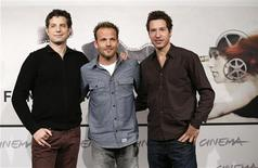 """Directors Alan and Gabe (R) Polsky pose with actor Stephen Dorff (C) during the photocall for the movie """"The Motel Life"""" at the Rome Film Festival in this November 16, 2012, file photo. REUTERS/Max Rossi/Files"""