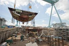 The superlift erected on the aircraft carrier Gerald R. Ford (CVN 78) is one of the heaviest Newport News Shipbuilding will construct and lift into the dock. REUTERS/Chris Oxley /Huntington Ingalls Industries/Handout