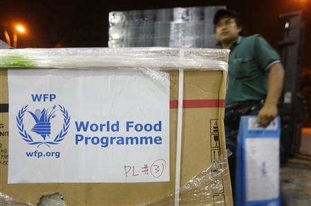 A worker stands near World Food Programme (WFP) relief goods near Subang airport in Kuala Lumpur November 10, 2013, to be sent to victims of super typhoon Haiyan in the Philippines. REUTERS/Samsul Said