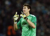 Manchester City's Costel Pantilimon reacts after their Champions League soccer match against CSKA Moscow at the Etihad Stadium in Manchester, northern England, November 5, 2013. REUTERS/Phil Noble