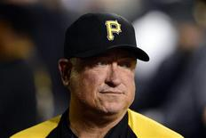 St. Louis, MO, USA; Pittsburgh Pirates manager Clint Hurdle (13) in game five of the National League divisional series playoff baseball game against the St. Louis Cardinals at Busch Stadium. Mandatory Credit: Jeff Curry-USA TODAY Sports
