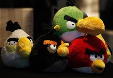 Angry Birds toys are displayed during a news conference in Hong Kong July 3, 2012. REUTERS/Bobby Yip