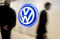 A Volkswagen logo sign is seen inside the lobby of the U.S. headquarters building of Volkswagen Group of America in Herndon, Virginia, September 18, 2008. REUTERS/Larry Downing