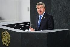 International Olympic Committee (IOC) President Thomas Bach addresses the 44th plenary meeting of the United Nations General Assembly to support a resolution for building a more peaceful world through sport and the Olympic ideal at UN headquarters in New York, November 6, 2013. REUTERS/Lucas Jackson