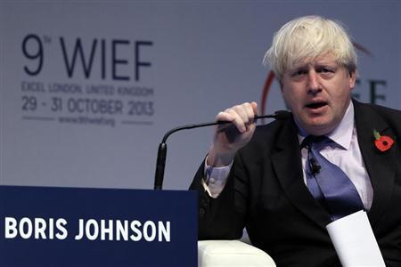 London Mayor Boris Johnson speaks during the World Islamic Economic Forum in London October 30, 2013. REUTERS/Stefan Wermuth