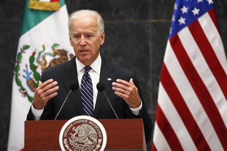 U.S. Vice President Joe Biden speaks after a meeting with Mexico's President Enrique Pena Nieto at Los Pinos Presidential Residence in Mexico City September 20, 2013. REUTERS/Edgard Garrido