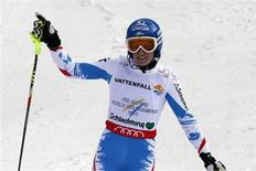 Marlies Schild of Austria reacts during the second run of the women's Slalom race at the World Alpine Skiing Championships in Schladming February 16, 2013. REUTERS/Ruben Sprich