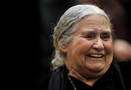 British novelist Doris Lessing laughs as she waits to receive the Nobel Prize for Literature at the Wallace Collection in London January 30, 2008. REUTERS/Toby Melville