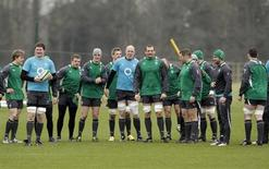 Ireland's rugby team gather for team training at their Carton House training camp in County Kildare February 9, 2012, ahead of their next Six Nations rugby match against France in Paris. REUTERS/Cathal McNaughton