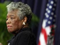 U.S. poet Maya Angelou speaks during a ceremony to honor South African Archbishop Emeritus Desmond Tutu in Washington in this file photo taken November 21, 2008. REUTERS/Jim Young/Files