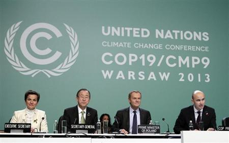 (L-R) Christiana Figueres, executive secretary of the U.N. Framework Convention on Climate Change (COP), U.N. Secretary General Ban Ki-moon and Polish Prime Minister Donald Tusk listen to Polish Environment Minister Marcin Korolec during the COP19 conference at the National Stadium in Warsaw November 19, 2013. REUTERS/Kacper Pempel