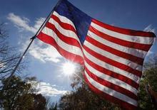 Uma bandeira americana é vista em um prostesto contra o governo do presidente Obama em Washington. Os preços ao consumidor nos Estados Unidos caíram inesperadamente em outubro e a taxa de inflação anual foi a menor em quatro anos, o que deve dar espaço para o banco central norte-americano manter o ritmo de compra de títulos por algum tempo. 19/11/2013 REUTERS/Larry DowningRTX15KC8