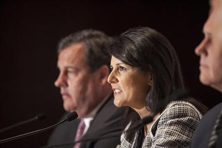 Governor Nikki Haley (R-SC) answers a question during a news briefing at the 2013 Republican Governors Association conference in Scottsdale, Arizona November 21, 2013. REUTERS/Samantha Sais