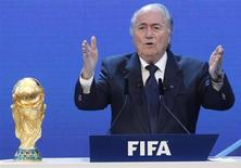 FIFA President Sepp Blatter gives a speech during the final presentation and the announcement of the host nations for the 2018 and 2022 FIFA World Cups in Zurich December 2, 2010. REUTERS/Christian Hartmann