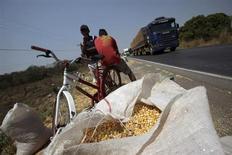 Jovens perto de uma saca de grãos recolhida após ter caído de um caminhão na BR-163, em Mato Grosso. Ao menos seis grupos entregaram propostas nesta segunda-feira, na sede da BM&FBovespa, para o leilão da rodovia BR-163 que será realizado na quarta-feira. 26/08/2010 REUTERS/Ricardo Moraes